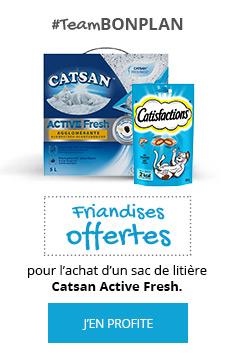 Litière Catsan Active Fersh + Friandises Catisfaction offertes