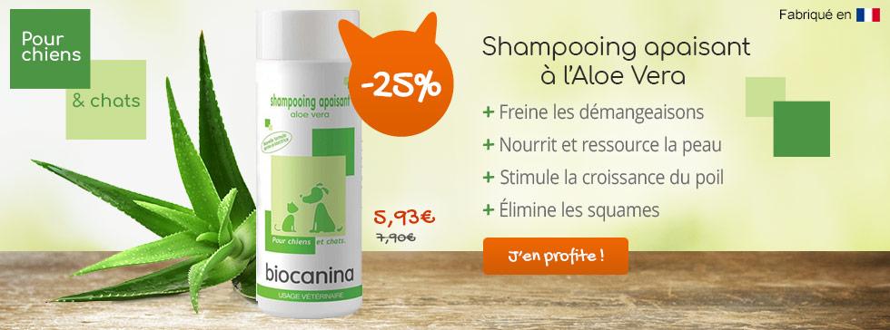 -25% sur le shampooing apaisant Biocanina Aloe vera