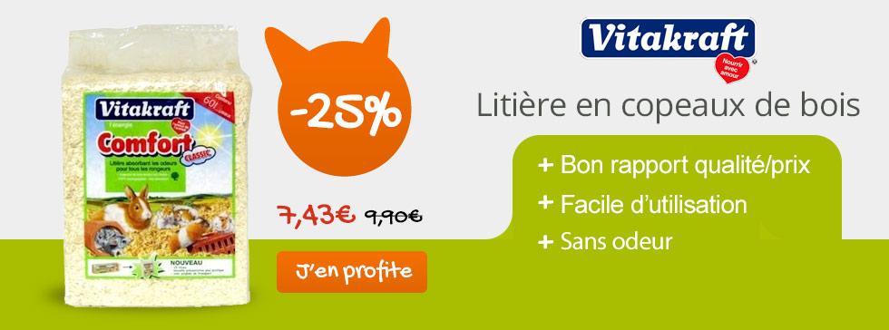 25% de réduction sur la litière comfort vitakraft