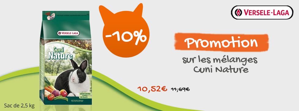 10% de réduction sur les mélanges Cuni Nature Versele
