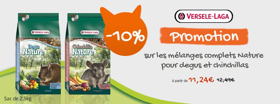10% sur les mélanges complets nature Degu et chinchillas