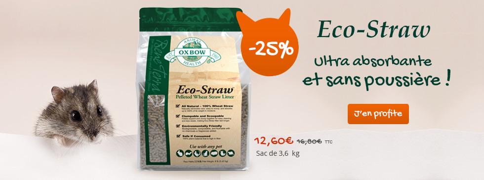 Profitez de -25% sur la litière Eco-Straw