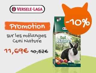 10% de réduction sur les mélanges cuni nature Versele Laga