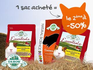 Profitez de promotions sur les aliments pour cobaye d'Oxbow : 1 acheté=le 2ème à -50%
