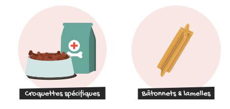 Des croquettes spécifiques et les lamelles ou bâtonnets à mâcher contribuent à une bonne hygiène bucco-dentaire