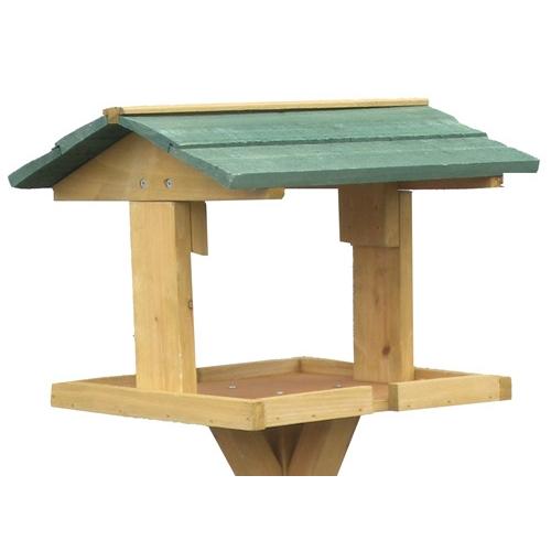 Mangeoire sur pied en pin mangeoire oiseaux des jardins for Plan de mangeoire pour oiseaux du jardin