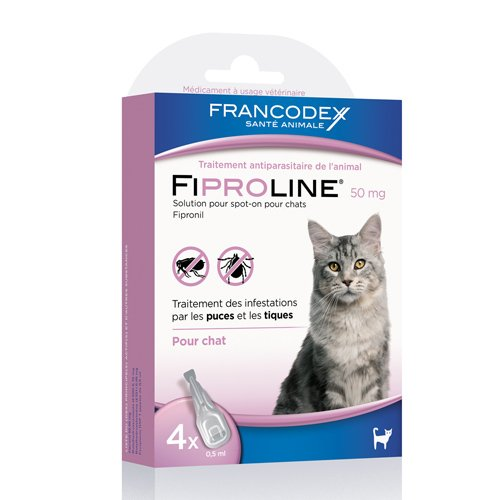 pipettes fiproline spot on anti puces et tiques pour chat francodex wanimo. Black Bedroom Furniture Sets. Home Design Ideas