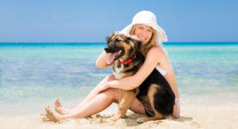 Une dame et son chien sur la plage